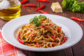 Homemade linguine pasta in arrabbiata sauce. Royalty Free Stock Photo