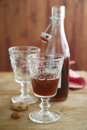 Homemade liquor served with cookies Royalty Free Stock Images