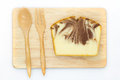 Homemade, marble butter cake on wooden board Royalty Free Stock Photo