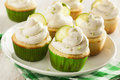 Homemade margarita cupcakes with frosting and limes Royalty Free Stock Photography