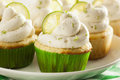 Homemade margarita cupcakes with frosting and limes Royalty Free Stock Photo