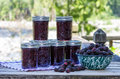 Homemade marionberry jam or preserves jars of blackberry Royalty Free Stock Photography