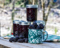 Homemade marionberry jam or preserves jars of blackberry Stock Photo