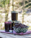 Homemade marionberry jam or preserves jars of blackberry Royalty Free Stock Photo