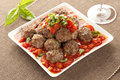Homemade Meatballs in Red Tomato Sauce Stock Images