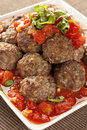 Homemade Meatballs in Red Tomato Sauce Royalty Free Stock Photos