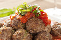 Homemade Meatballs in Red Tomato Sauce Royalty Free Stock Images