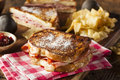 Homemade monte cristo sandwich with ham and cheese Royalty Free Stock Photography
