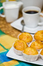 Homemade muffins still life image of tasty arranged on colorful tablecloth Stock Photo