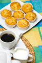 Homemade muffins still life image of tasty arranged on colorful tablecloth Stock Photos