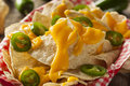 Homemade nachos with cheddar cheese and jalapenos Royalty Free Stock Photo