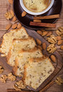 Homemade nut cake with cup of coffe . Royalty Free Stock Photo