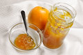 Homemade orange jam or marmalade in a jar and fresh Royalty Free Stock Photos