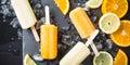 Homemade orange and lemon popsicles Royalty Free Stock Photo