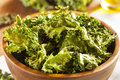 Homemade organic green kale chips with salt and oil Stock Photography
