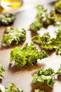 Homemade organic green kale chips with salt and oil Royalty Free Stock Images
