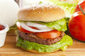 Homemade Organic Hamburger Royalty Free Stock Images