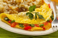 Homemade organic vegetarian cheese omelette with onions and peppers Stock Photography