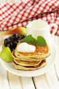 Homemade pancakes with fruit and yogurt healthy breakfast Stock Photo