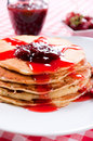 Homemade pancakes with strawberries jam Stock Photo