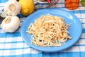 Homemade pasta some fresh on a plate Royalty Free Stock Photo