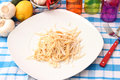 Homemade pasta some fresh on a plate Stock Image