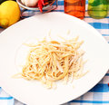 Homemade pasta some fresh on a plate Stock Photography