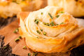 Homemade pastry with the cheese and chive selective focus on the front Royalty Free Stock Photo