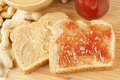 Homemade Peanut Butter and Jelly Sandwich Stock Photo