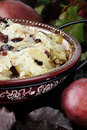 Homemade pear crisp made with cranberries and almonds and fresh pears Royalty Free Stock Photo