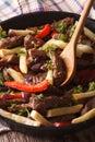 Homemade peruvian food lomo saltado close up in a pan vertical frying Royalty Free Stock Photos