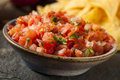 Homemade pico de gallo salsa and chips ready to eat Royalty Free Stock Image