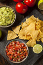 Homemade pico de gallo salsa and chips ready to eat Royalty Free Stock Photography