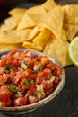 Homemade pico de gallo salsa and chips ready to eat Royalty Free Stock Photos