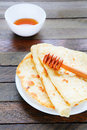 Homemade pita with honey food closeup Royalty Free Stock Images