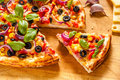 Homemade pizza with olives and onions Royalty Free Stock Photo