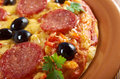 Homemade pizza pepperoni italian closeup Royalty Free Stock Images