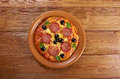 Homemade pizza pepperoni italian closeup Royalty Free Stock Image