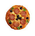 Homemade pizza pepperoni italian closeup isolated Stock Image