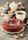 Homemade plum cake retro style Royalty Free Stock Photo