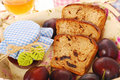 Homemade  plum and honey bread Stock Photo