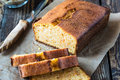 Homemade pound cake baked in a loaf pan on a wooden board Stock Photos