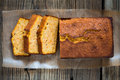 Homemade pound cake baked in a loaf pan on a wooden board viewed from above Royalty Free Stock Image
