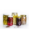 Homemade preserves canned goods in jars group of mason Stock Images