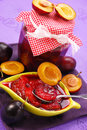 Homemade preserves of plums Stock Photos