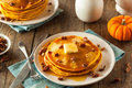 Homemade Pumpkin Pancakes with Butter Royalty Free Stock Photo