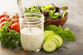 Homemade ranch dressing in a mason jar Royalty Free Stock Photo