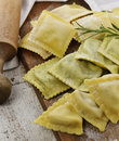 Homemade ravioli assortment on a cutting board Royalty Free Stock Images