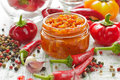 Homemade red hot chilli sauce in the glass jar Royalty Free Stock Photography