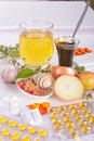 Homemade remedies for flu natural illness and medicine pills Royalty Free Stock Images